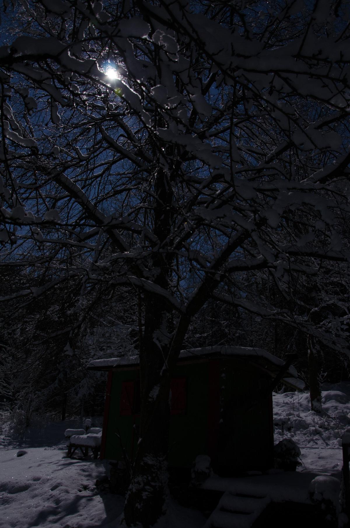 Bauwagen im Mondlicht